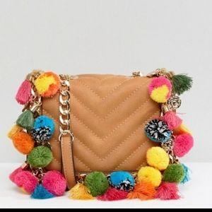 Pom pom crossbody purse